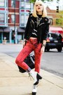 Red-articles-of-society-jeans-white-jeffrey-campbell-boots-black-diy-jacket