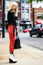 red Articles of Society jeans - white Jeffrey Campbell boots - black DIY jacket