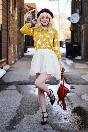 mustard Target sweater - white Chicwish skirt