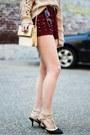 Maroon-choies-shorts-black-boohoo-heels