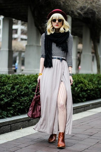 Papaya clothing skirt - madewell boots - Forever 21 scarf