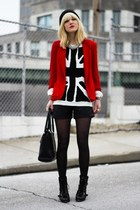 red Zara blazer - black Nine West boots