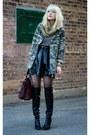 Black-zara-boots-olive-green-zara-jacket-black-akira-skirt