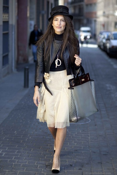 leather jacket Atos Lombardini jacket - Chanel shoes - Joesp Font dress
