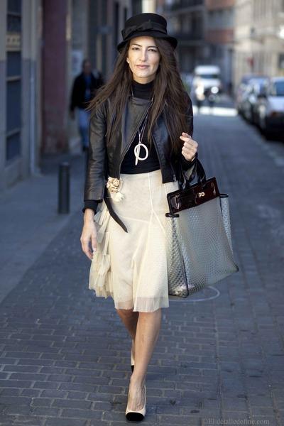 leather jacket Atos Lombardini jacket - Chanel shoes - Joesp Font dress