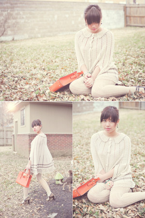 eggshell crochet modcloth cape - orange melie bianco bag