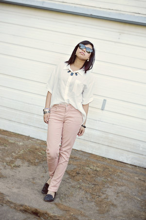 Michael Kors watch - light pink Forever 21 jeans - house of harlow sunglasses