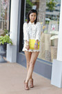 Neon-yellow-kate-spade-bag-lace-zara-shorts-studded-collar-zara-blouse