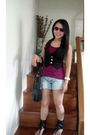 Aldo-sunglasses-candies-vest-topshop-top-terranova-shorts-prp-boots