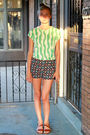 Green-vintage-t-shirt-black-vintage-shorts-brown-vintage-from-etsy-shoes