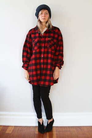 navy hat - red woolrich shirt - black JCrew pants - black Nine West boots