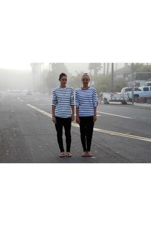 white H&M shirt - black pants