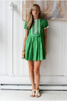 green vintage dress - white vintage shoes