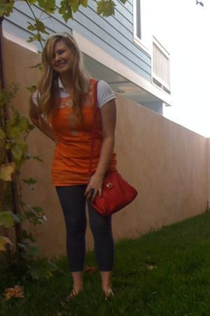 orange Forever 21 dress - white Hand Made accessories - white Gap shirt - red Fo