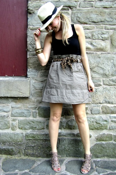 beige Joe Fresh skirt - black Old Navy top - beige Aldo shoes - beige H&M hat -