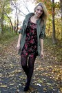 Green-spotted-moth-jacket-purple-gap-tights-black-h-m-dress