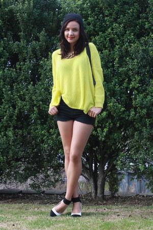 light yellow Catalogue jumper - black Glassons shorts - white - heels