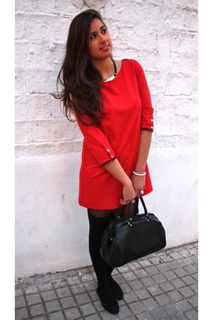 red Stradivarius dress