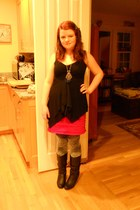 necklace - boots - shirt - tights - skirt
