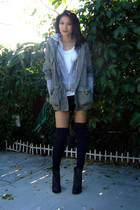 olive green f21 jacket - heather gray unknown brand jacket - white f21 t-shirt -