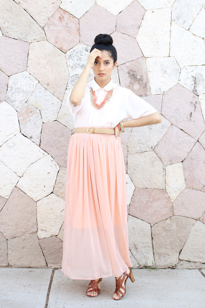 peach sheer DIY skirt - beige braided vintage belt