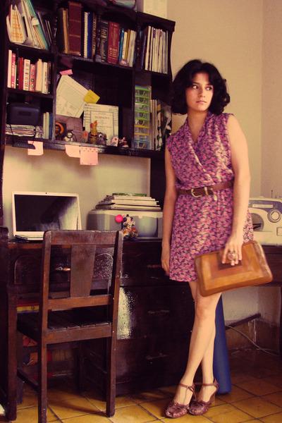 purple dress - brown belt - brown shoes - brown purse