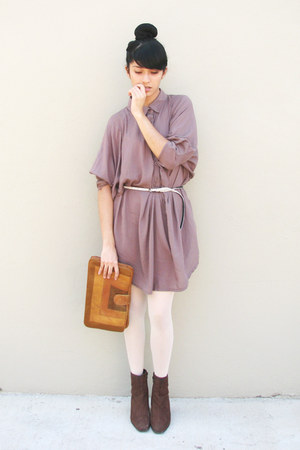 dark brown suede unknown boots - light purple shirt dress unknown dress