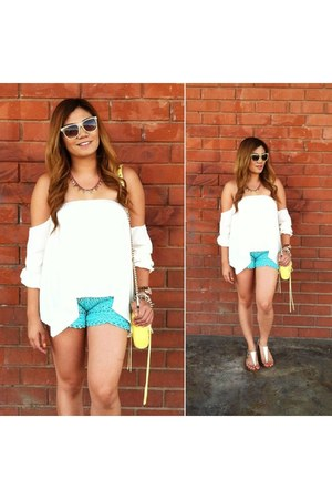 yellow mini mac Rebecca Minkoff bag - Urban 1972 shorts - Ray Ban sunglasses