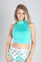 Mint Cropped Mock Turtleneck Tank