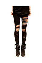 Ripped Cotton Leggings In Punk Style