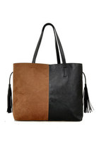 PU and Suede Bag with Tassels