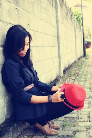 red DIY hat - black Old Navy blazer - black Topshop tights - brown Old Navy heel