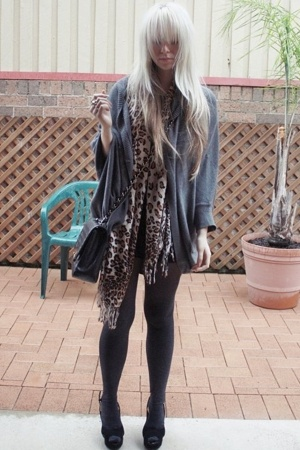Sportsgirl sweater - charlie brown dress - SES scarf - Witchery stockings - Urba