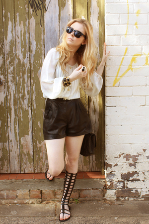 white silk Zimmerman top - black leather lucky13 shorts