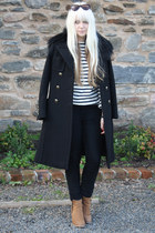 black cashmere Gucci coat - camel zip up Topshop boots
