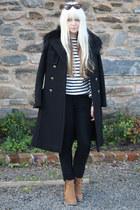 black cashmere Gucci coat - camel zip up Topshop boots