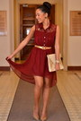 Crimson-chiffon-urban-behaviour-dress-tan-vintage-bag-gold-vintage-belt