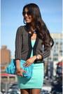 Aquamarine-zara-dress-sky-blue-purse-dark-brown-le-chateau-cardigan
