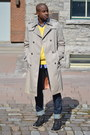 Gray-sperrys-boots-tan-trench-coat-vintage-coat