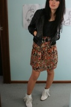 Sportsgirl jacket - Tigerlily skirt - homemade top - supre belt - Mums boots