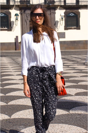black Mango pants - red Bimba & Lola bag - white Bimba & Lola blouse