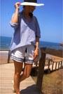 Eggshell-h-m-hat-sky-blue-h-m-shirt-ivory-oysho-shorts-eggshell-paez-flats