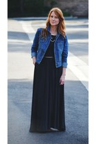 dark grey maxi dress - denim jacket