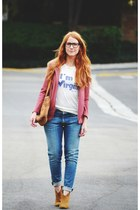 salmon blazer - tawny boots - blue boyfriend 7 for all mankind jeans