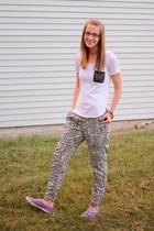 tribal print Ross pants - purple Keds shoes - pocket tee Ross shirt