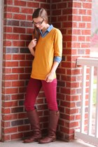 brown brown JustFab boots - mustard v-neck merona sweater