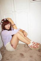 crochet shorts iwearsin shorts - Primark shirt - Topshop socks - wedges