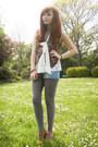 Sky-blue-newlook-shorts-black-vintage-vest-off-white-topshop-blouse