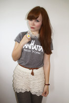 eggshell crochet shorts iwearsin shorts - heather gray manhattan tee Topshop top