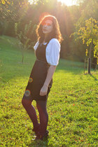 black H&M dress - black DSW boots - navy Target tights - white Cloud Nine blouse